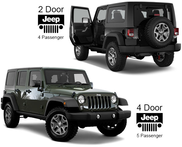 4 door and 2 door Jeeps for rent